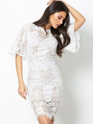 All Over Lace Open Back Mini Dress